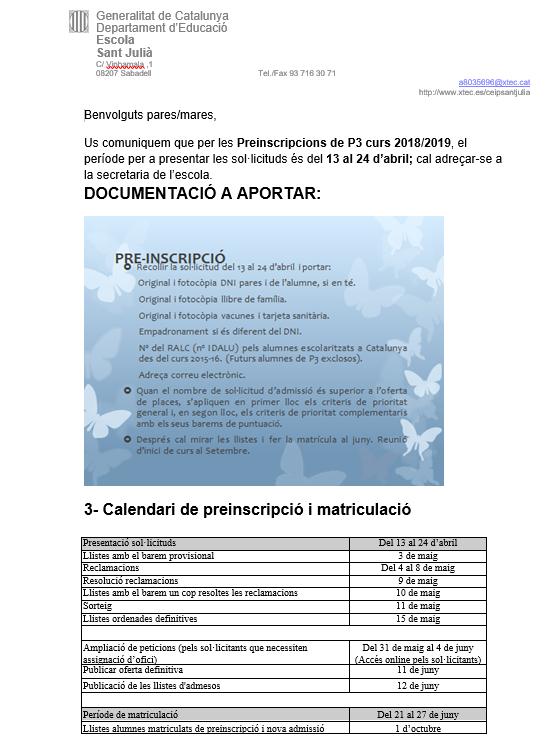 PREINSCRIPCIÓ CURS 2018/19