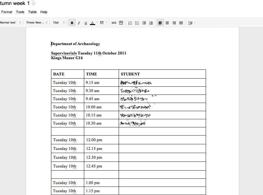 meeting sign up sheet