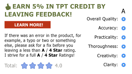 Earn 5% in TPT Credits by providing feedback