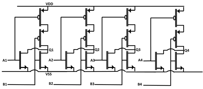 Quad, 2 input NOR gate schematic implementation of simplified 7402