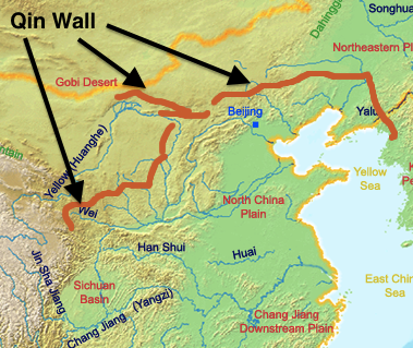 Ancient china ancient civilizations for kids map of qin wall gumiabroncs Gallery