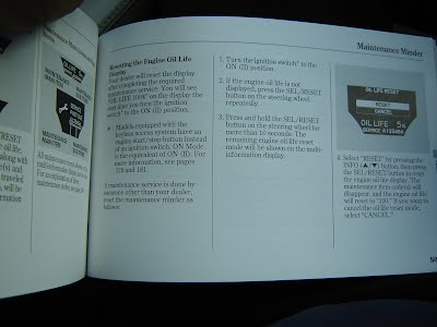 Page 502 of Owners Manual lists the steps on resetting the OIL LIFE indicator
