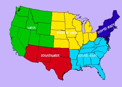 us map north south east west Regions Of The U S