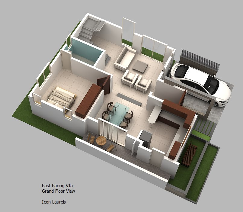 East facing plans 3 bhk duplex villas for House map 3d