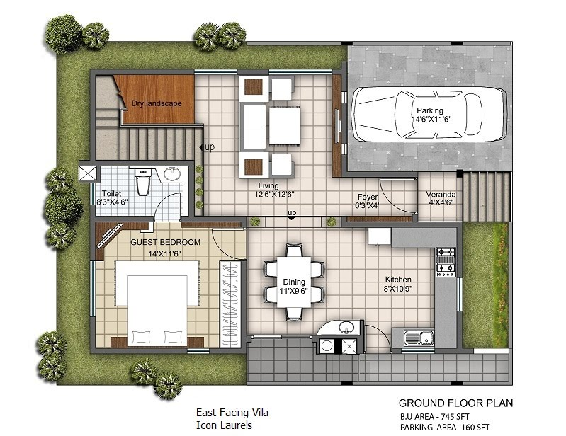 East facing plans 3 bhk duplex villas Indian villa floor plans