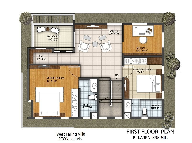 West facing plan 3 bhk duplex villas for 1st floor house plan india
