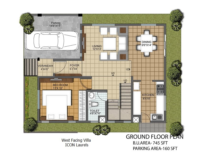 West Facing Plan 3 Bhk Duplex Villas