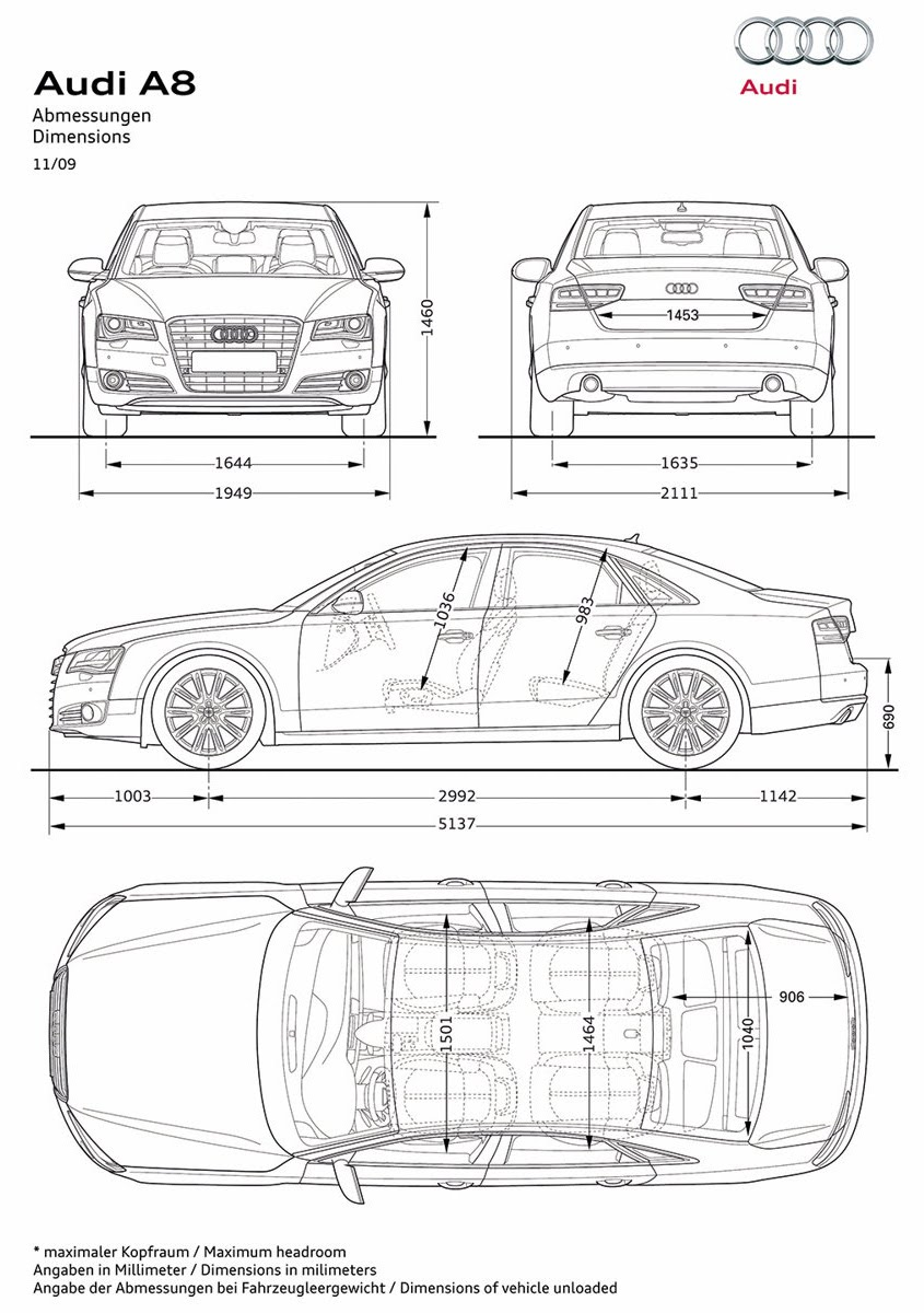Car Blueprints And Free 3d Models Blueprint Audi A8
