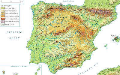 Map Of Coastal Spain.1 The Land Relief Of The Iberian Peninsula 3º Eso Geography
