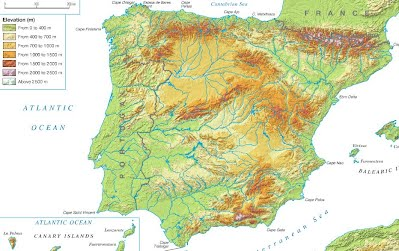 Iberian Peninsula Map 1. THE LAND RELIEF OF THE IBERIAN PENINSULA   3º ESO. Geography Iberian Peninsula Map