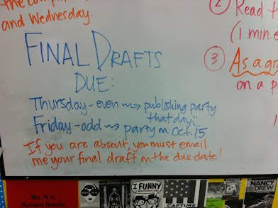 This was on the board on Sept. 30