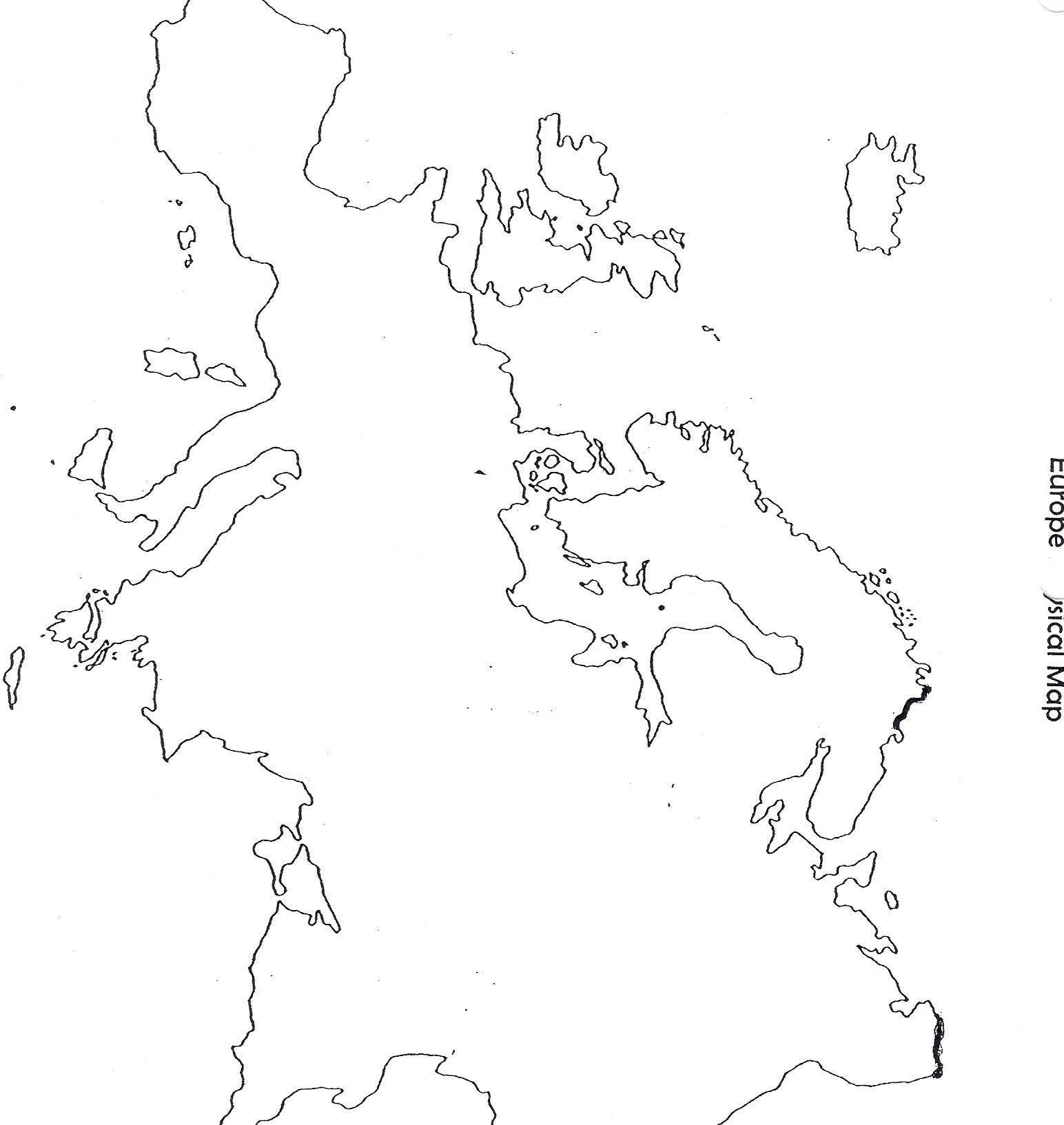 Blank Physical Features Map Of Europe - Blank us map with geographical features