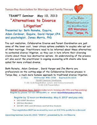 Collaborative Divorce Presentation at Tampa Bay Association for Marriage and Family Therapy