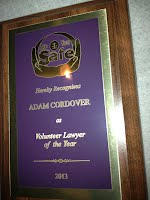 Are You Safe Names Adam B. Cordover Volunteer Lawyer of the Year