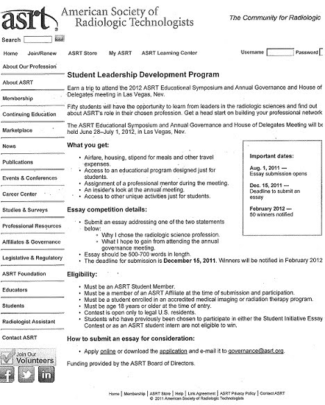 planning documents asrt student leadership development program screenshot of the webpage that has details on what the student leadership and development program entails and how you can win
