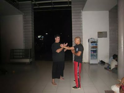 Teaching Ip Man Wing Chun to Sifu Ario Bondham,  national head of Jeet Kune Do. Indonesia.