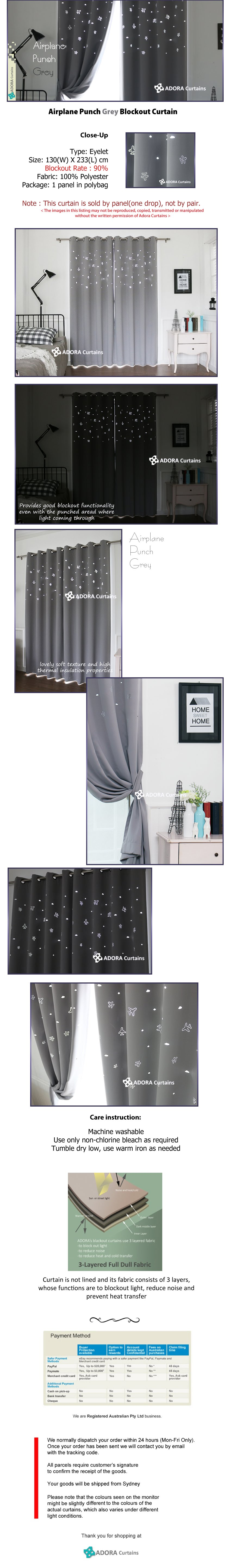 Airplane Punch Curtain - Grey