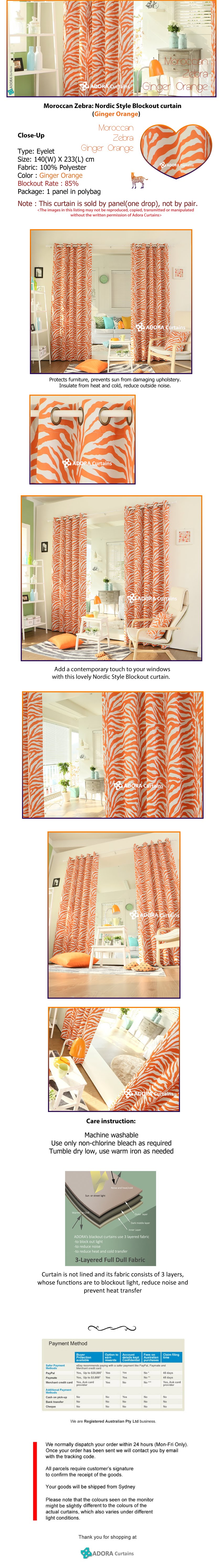 Moroccan Zebra Nordic Style Blockout Curtain Ginger