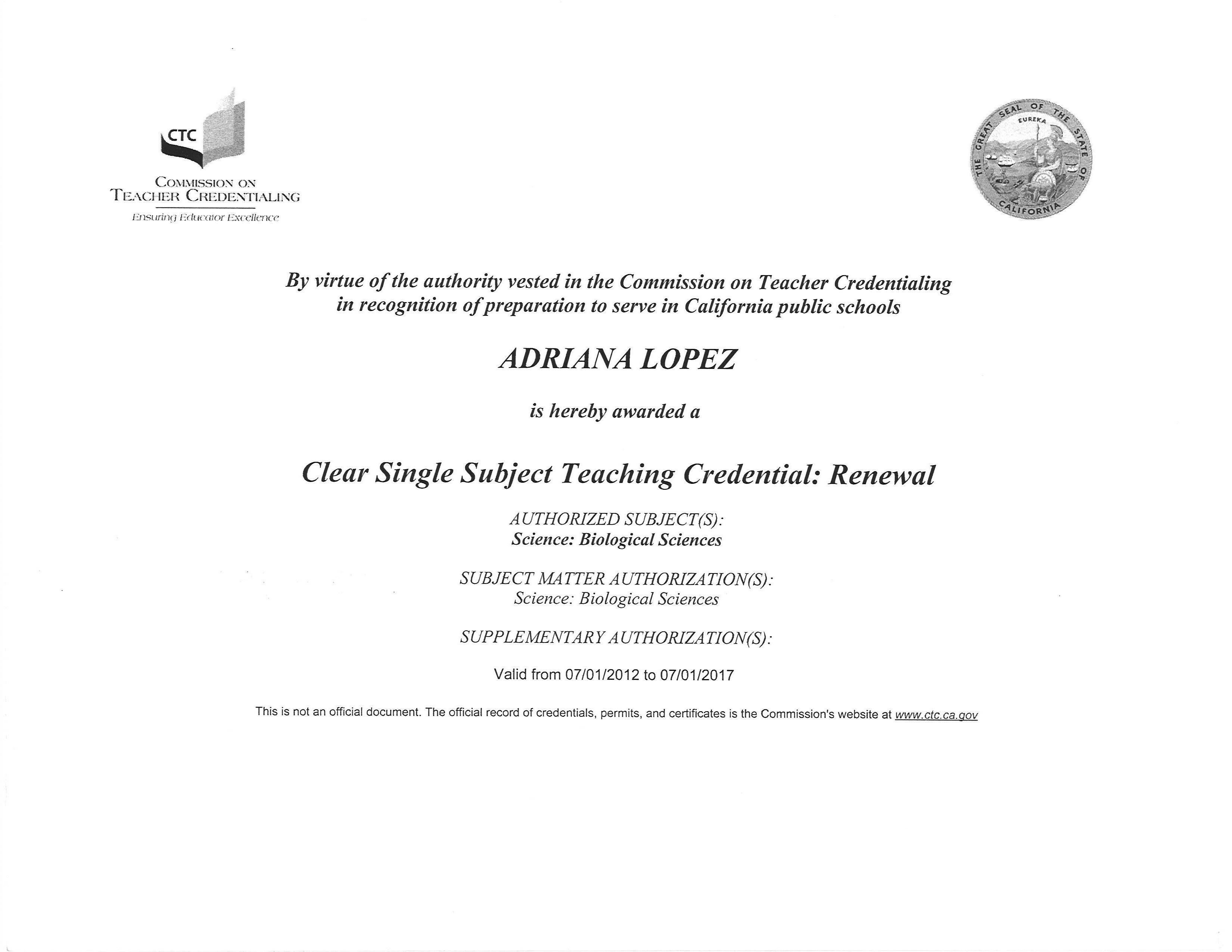 Education Certification Adriana Lopez Digital Portfolio