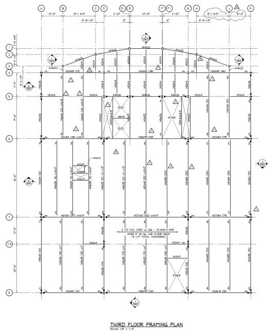 the third floor framing plan is much like the second floor framing plan it primarily consists of w beams of varying size and weight and 2 12 concrete