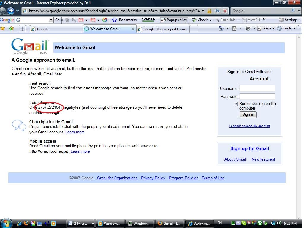 GMail 5 Gigabytes - Google Blogoscoped Forum