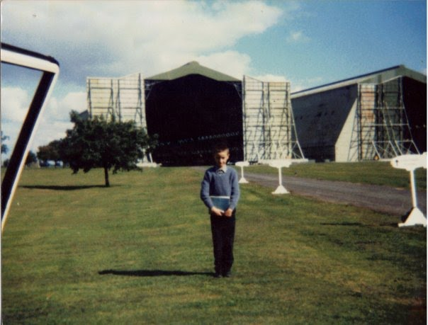 Trevor Monk, aged 8 at Cardington prior to a flight in an airship.