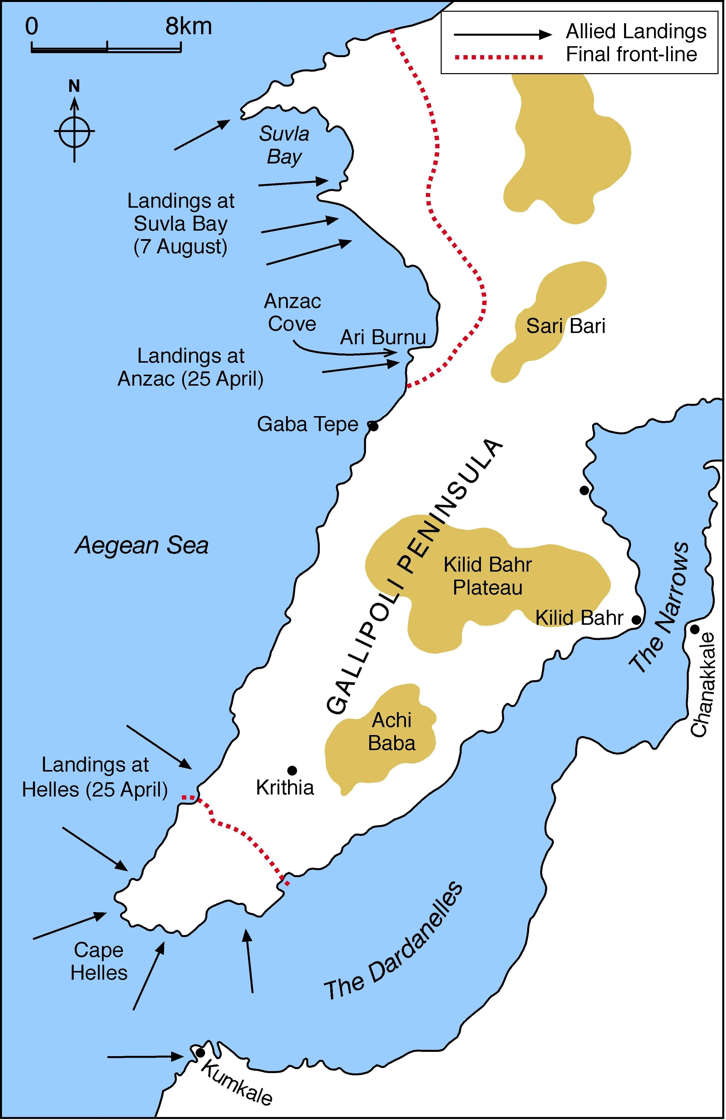 Map of Gallipoli - A Letter to Life
