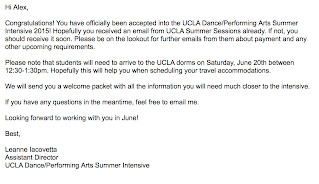 1Acceptance Letter Into The UCLA World Of Arts Dance Intensive