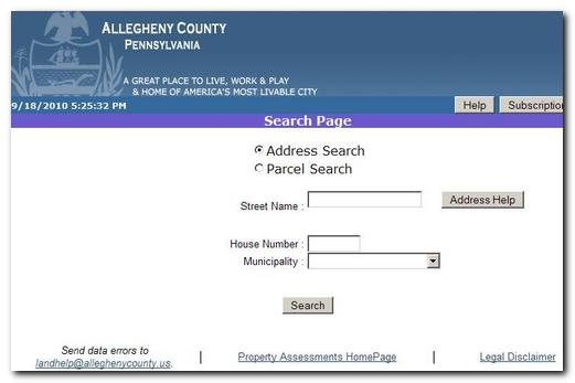 Allegheny County Search boxes