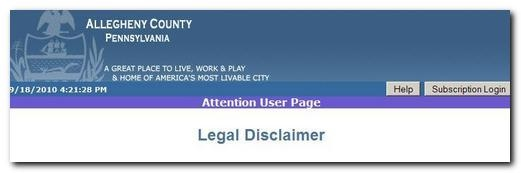 Allegheny County Disclaimer Notice