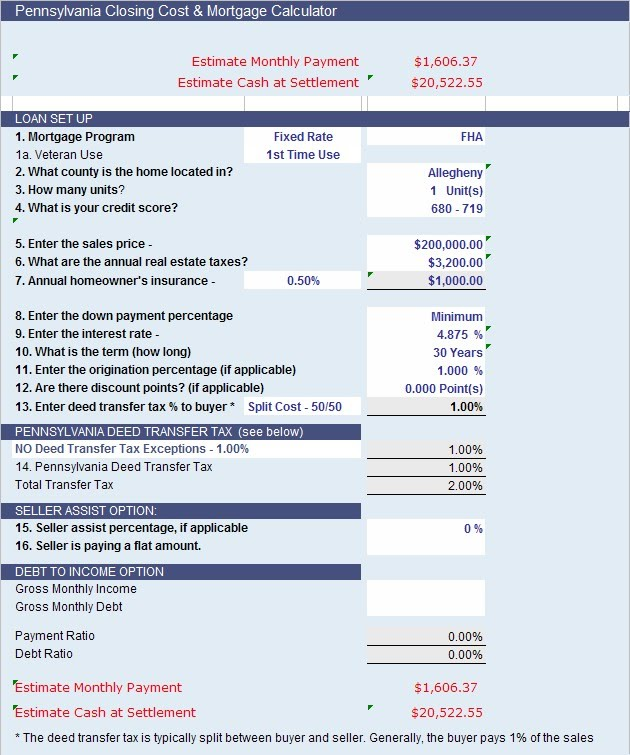 Closing Cost Calculator - Allegheny County, PA - First ...