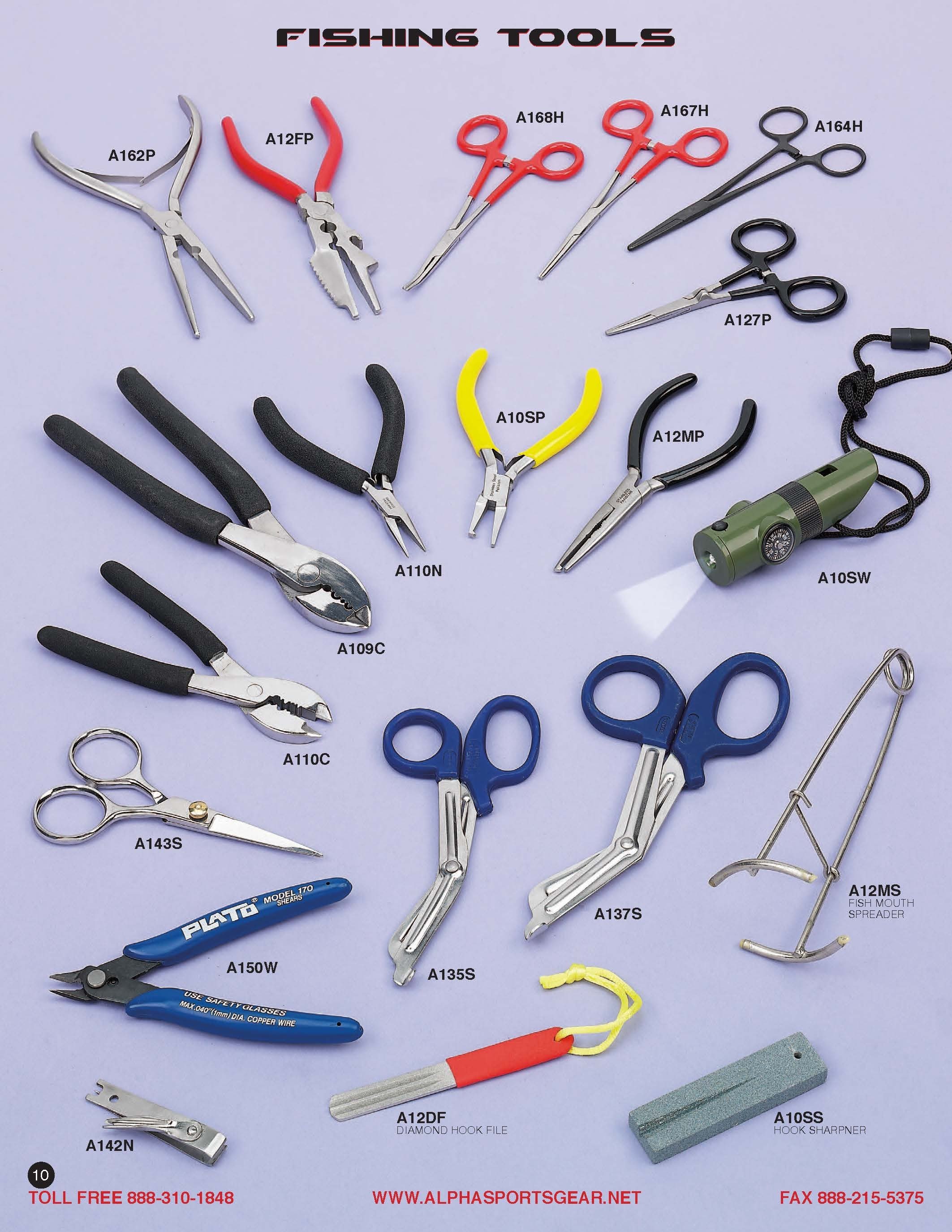 Scissors, Cutters forceps, Wire cutters, Pliers, Hook sharpener, Survival Whistle