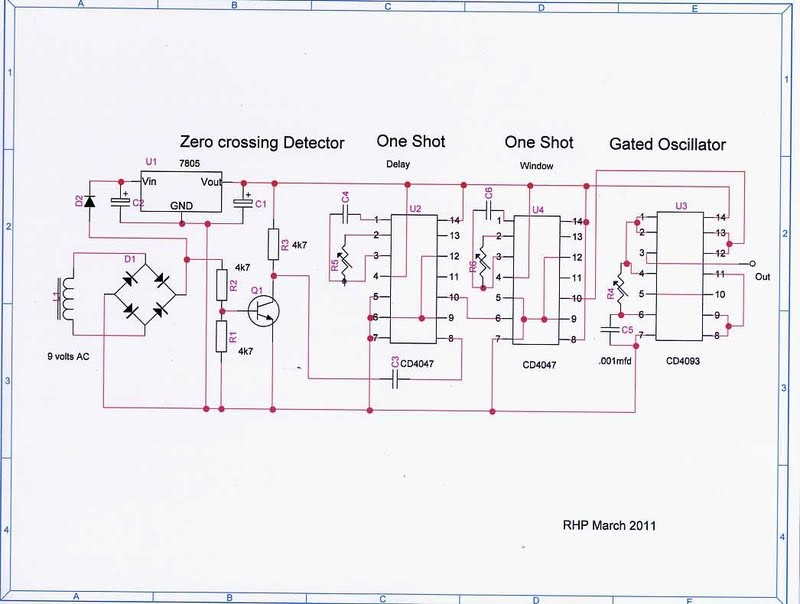 this is circuit done by RonP of Canada - the first pot finds sinewave peak, end pot selects capture width of sinewave peak and the third pot selects the number and frequency of pulses per peak period