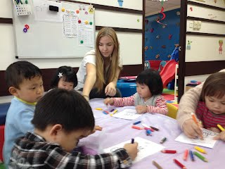Coloring Time with Rachel at Fun Kids Castle AEW an amazing English Learning center in Tuen Mun, Hong Kong