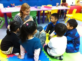 Reading Time with Rachel at Fun Kids Castle AEW a premier English learning center with Native English Teachers in Tuen Mun, Hong Kong