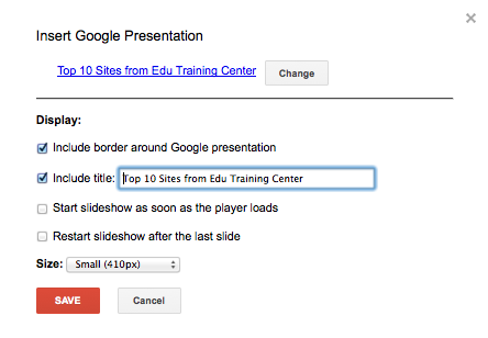 insert a google presentation working with classic google sites