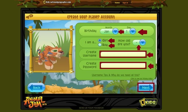 This is Animal Jam Official Sign Up Page. Please turn on your system sound and follow the instruction to be a lovely member of Jamma Family. Hope you always have fun in the Jamma World!