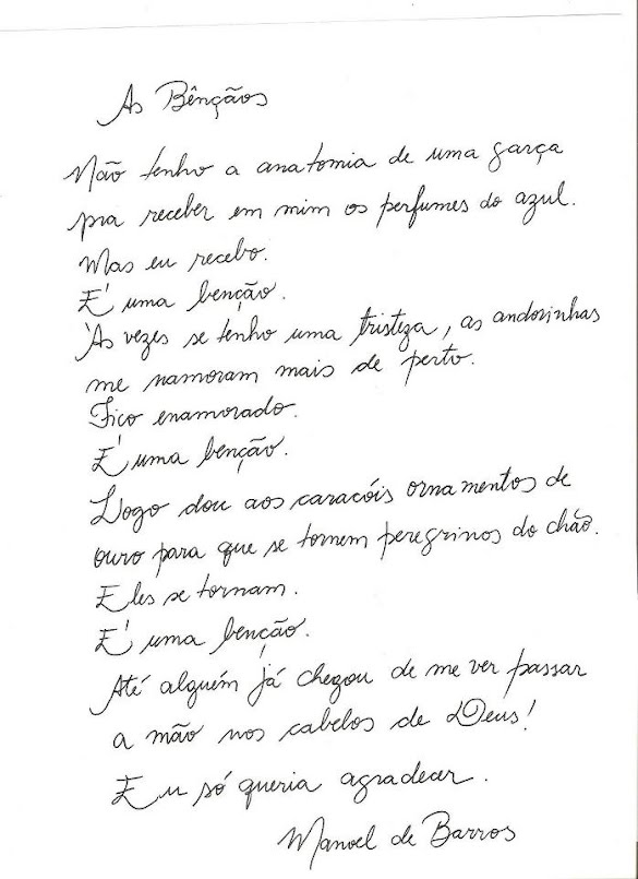 Manuscrito do poema AS BENÇÃOS