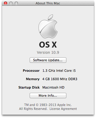 Apple menu About this Mac 10.9