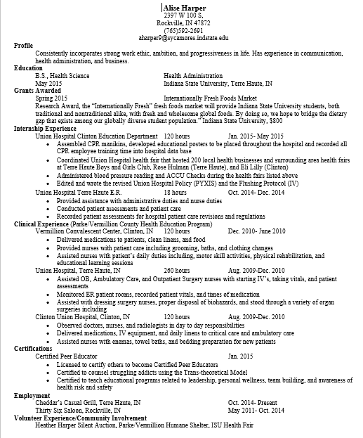 first resume and final resume applied health science co op