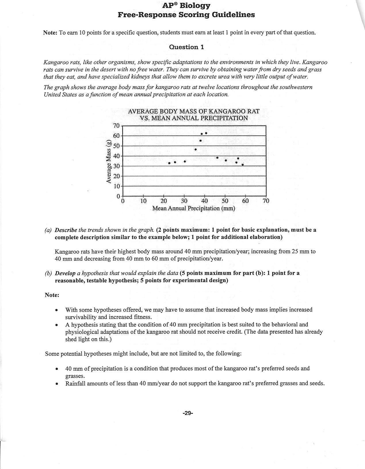Ap biology essay questions answers 2008 college paper academic