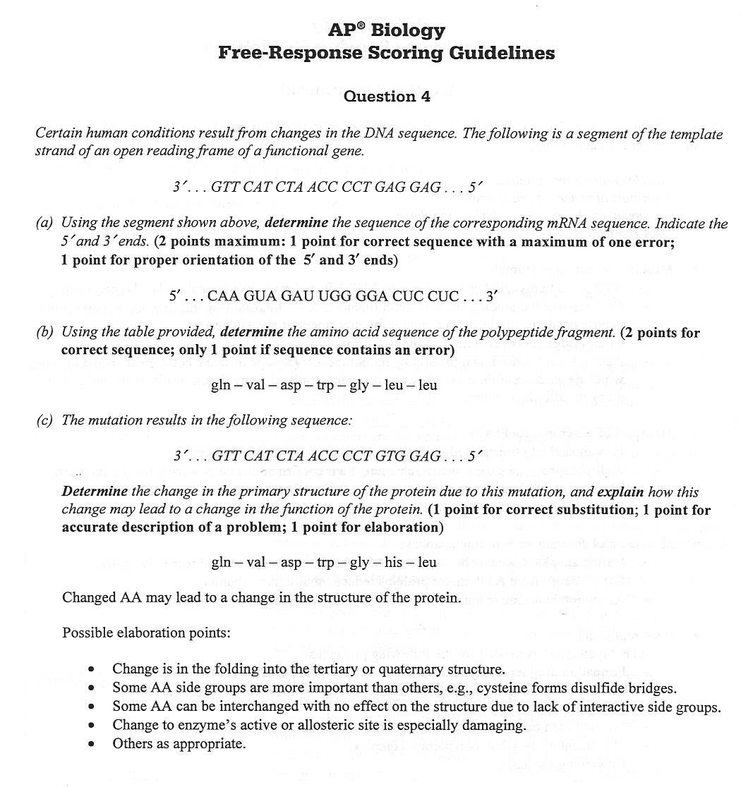 2003 ap biology essay questions answers Ap ® biology 2003 scoring guidelines these materials were produced by  educational testing service® (ets®), which develops and administers the  for  course and exam preparation permission for any other use must be  question 1.