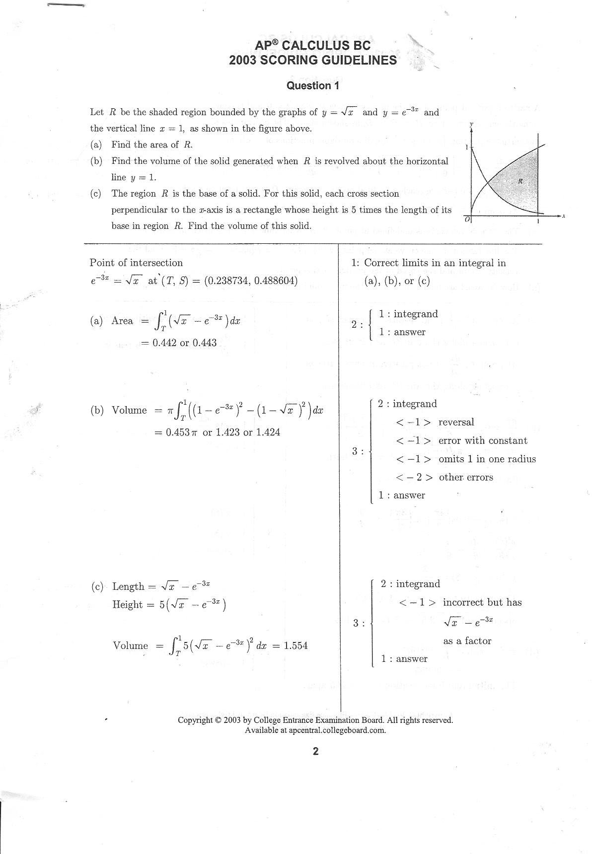BC Calculus 2003 Question 1
