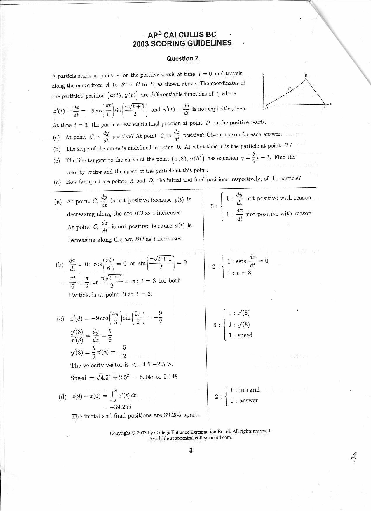 BC Calculus 2003 Question 2