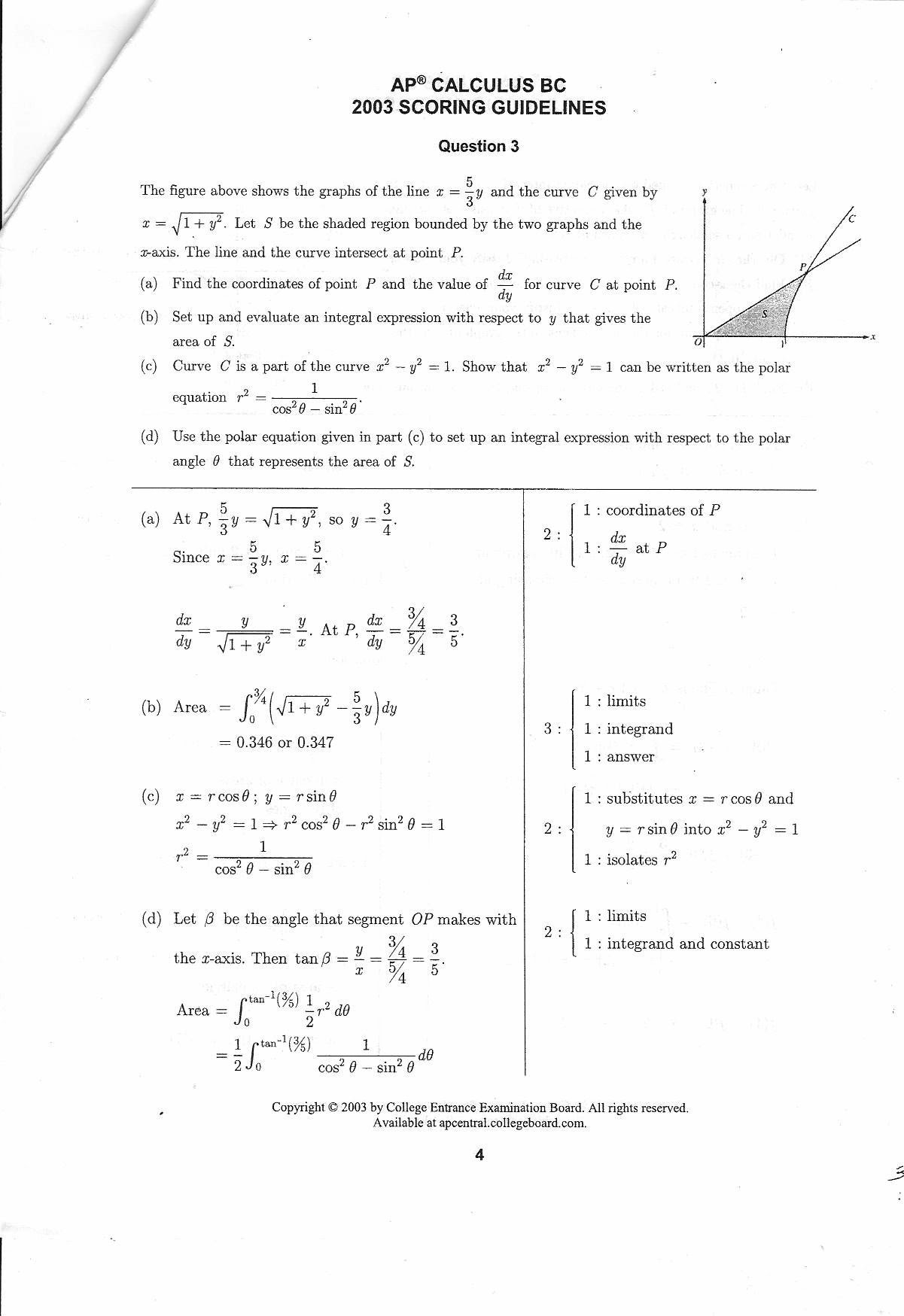 BC Calculus 2003 Question 3