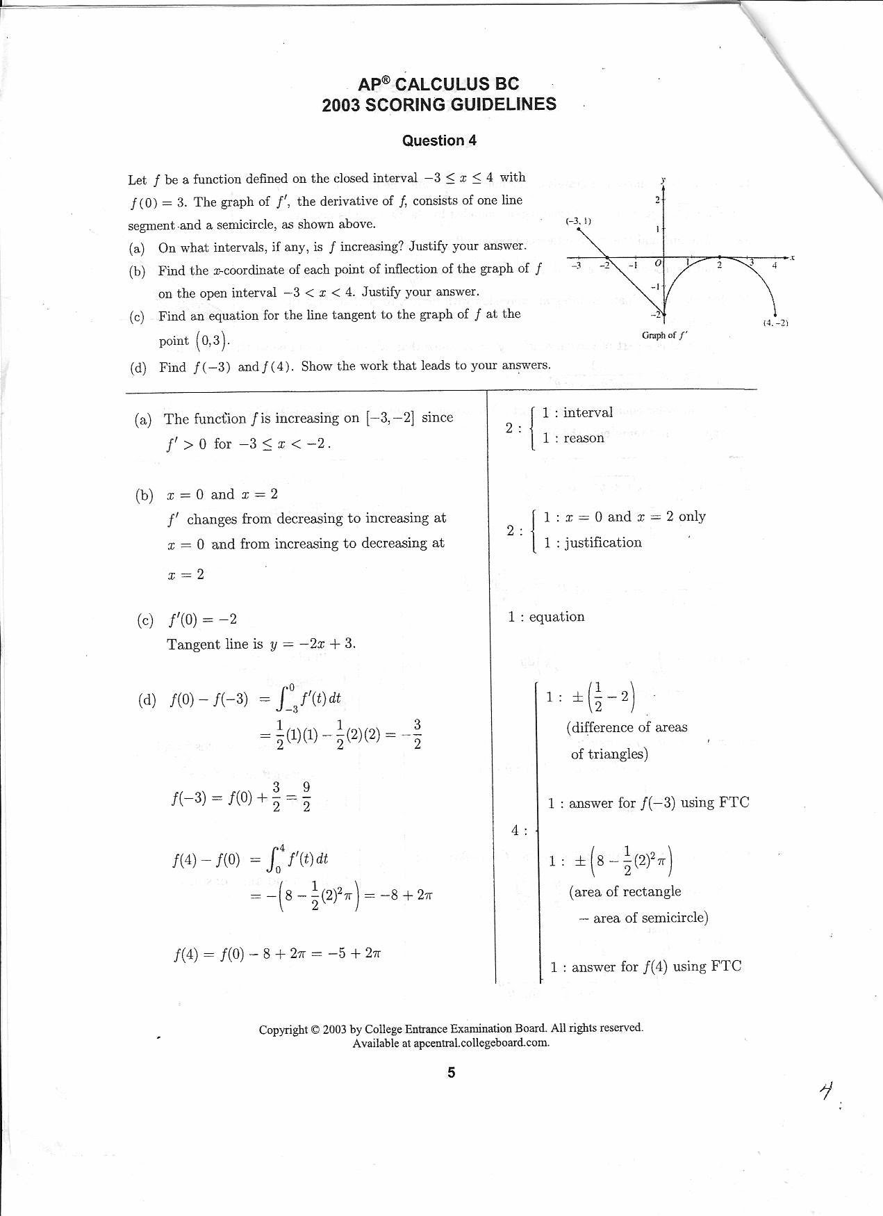 BC Calculus 2003 Question 4