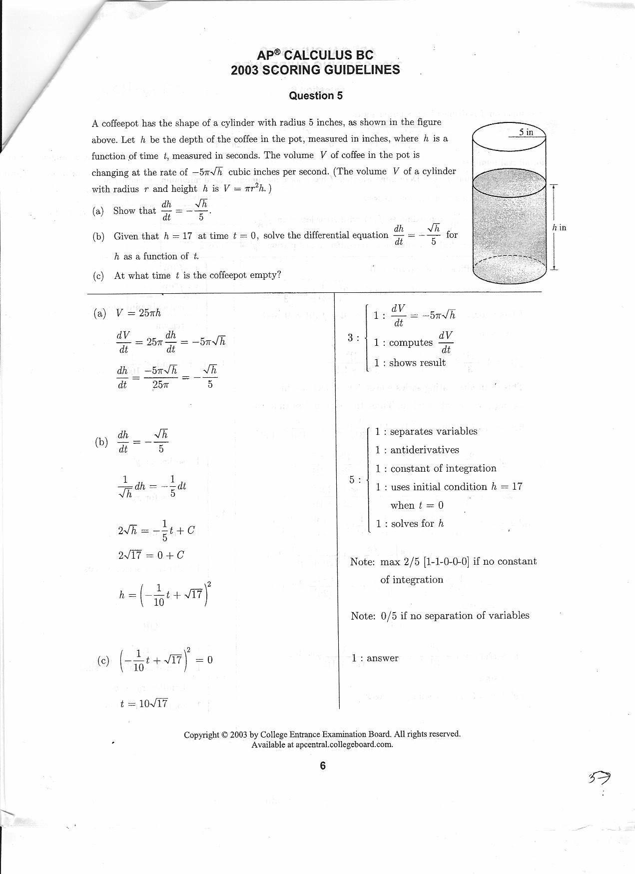 BC Calculus 2003 Question 5