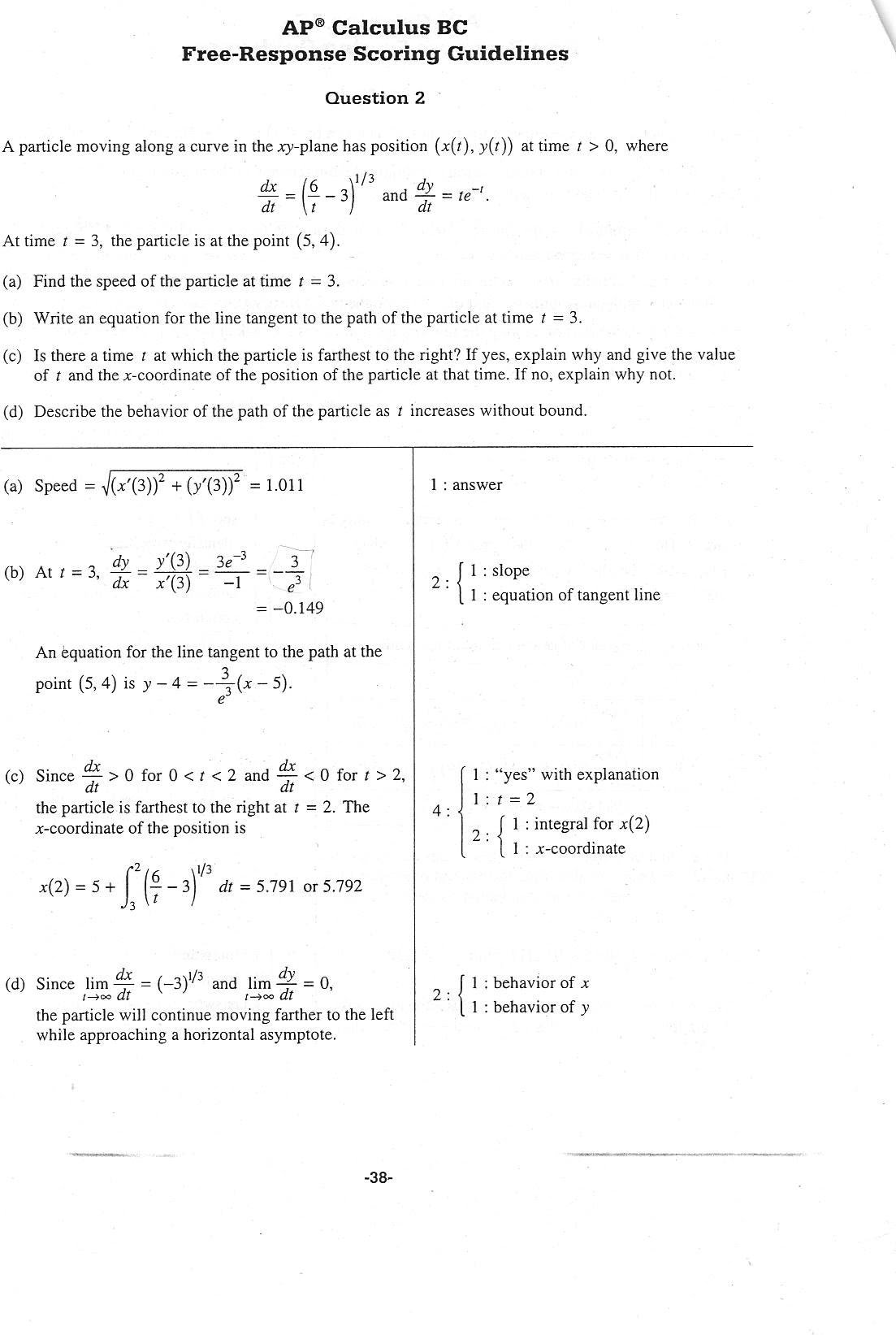 Ap Calculus 2017 Answers