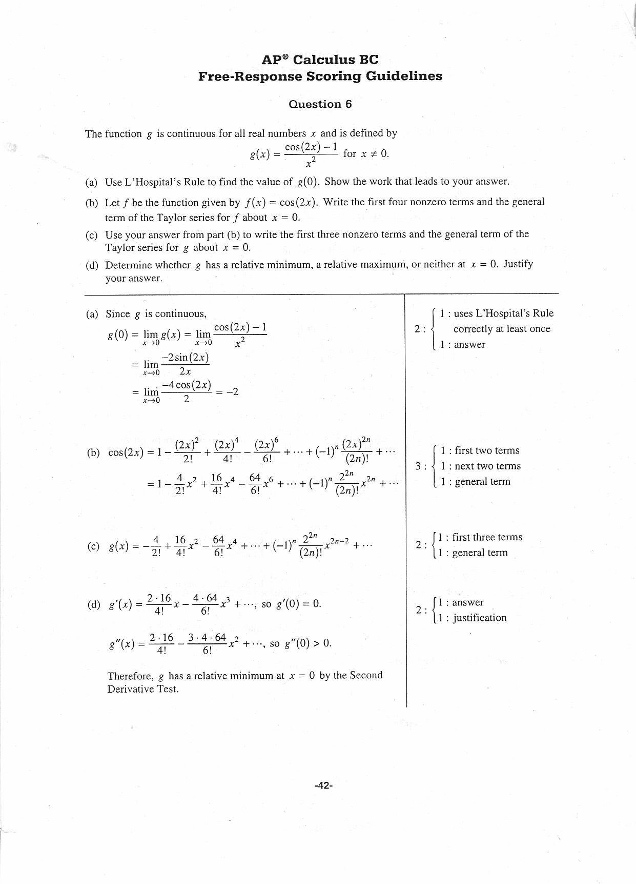 BC Calculus Practice Exam 2008 Question 6