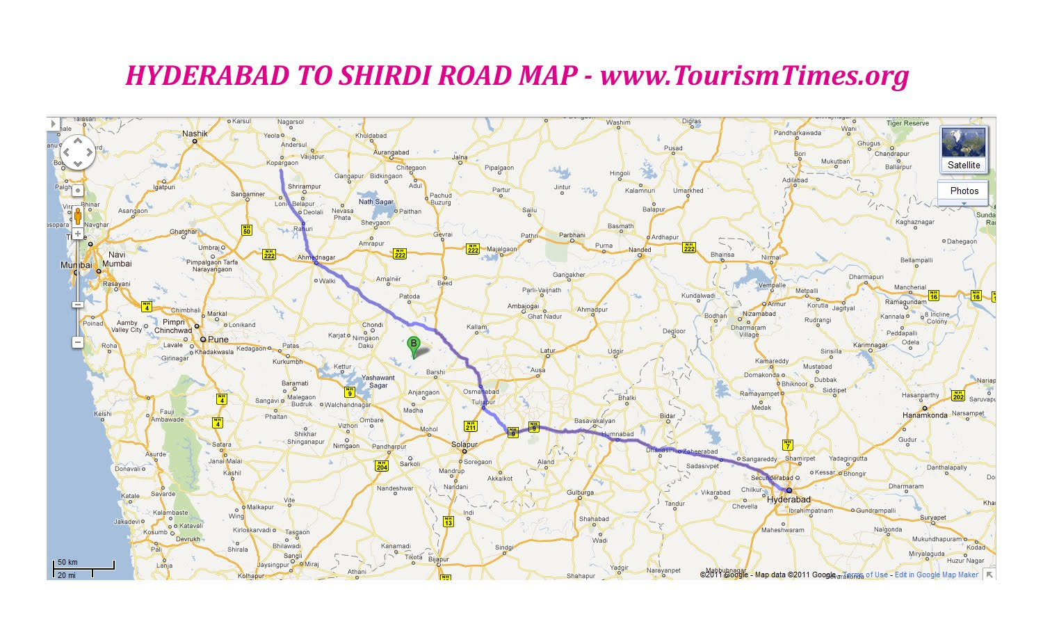 Hyderabad To Basara Route Map HYDERABAD TO SHIRDI Where? How? When? Distance   Trains   Route